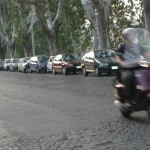 An unusual sight in Rome--just ONE moped in the street